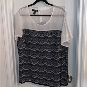 INC white with black lace top size 22w